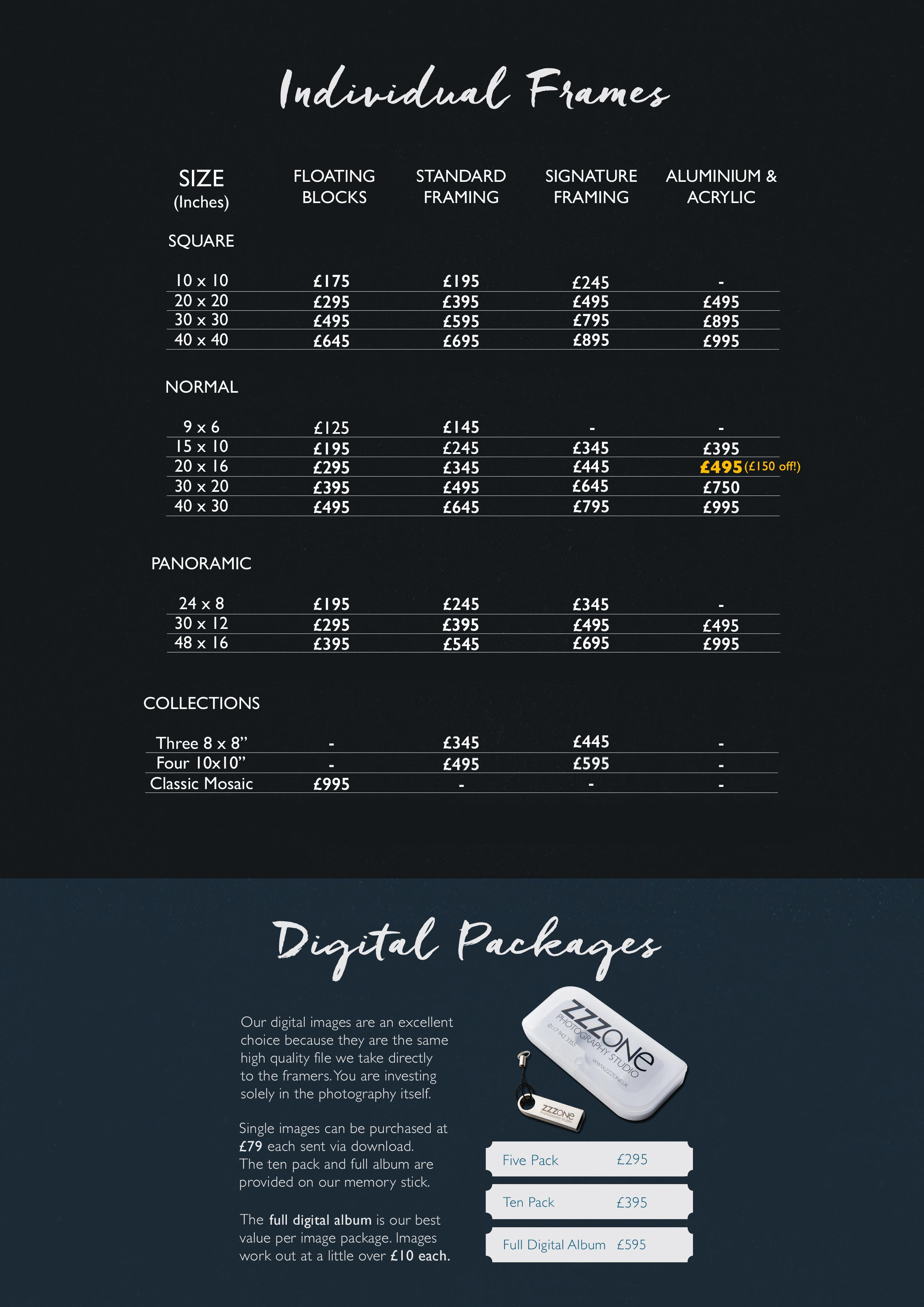 Photo Products Price List | Wall Frames | Digital Images